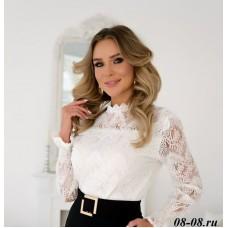 Кружевная блуза с блинным рукавом